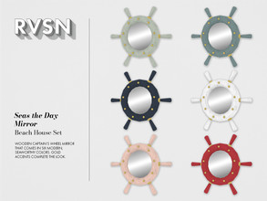 Sims 4 — Seas the Day Mirror by RAVASHEEN — Wooden wheel mirror that comes in six modern, seaworthy colors. Gold accents