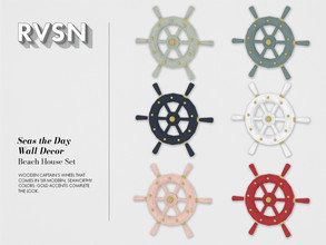 Sims 4 — Seas the Day Wall Decor by RAVASHEEN — Wooden wheel wall decor that comes in six modern, seaworthy colors. Gold