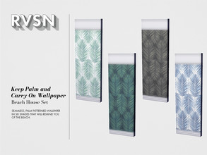 Sims 4 — Keep Palm and Carry On Wallpaper by RAVASHEEN — Seamless, palm patterned wallpaper in six shades that will