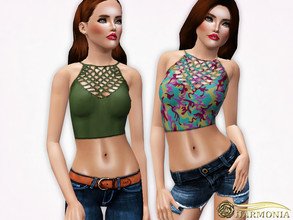 Sims 3 — Cage Neck Tankini Top by Harmonia — 3 color. recolorable Please do not use my textures. Please do not re-upload.