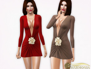 Sims 3 — Flower Accessory Wrap Dress by Harmonia — 3 color. recolorable Please do not use my textures. Please do not