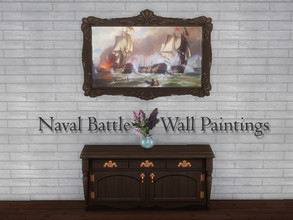 Sims 4 — Naval Battles - Wall Paintings by Reiko_Tsukino — Six different wall paintings depicting naval battles from the