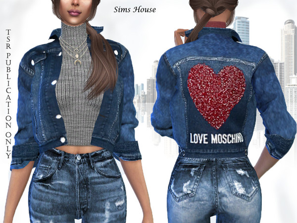 Sims House's Women's denim jacket with a short sweater