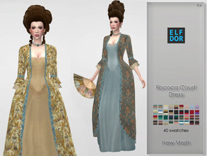 Sims 4 — Rococo Court Dress by Elfdor — - 40 swatches - new mesh - everyday, formal, party - teen to elder - real in game