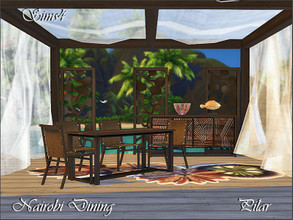 Sims 4 — Nairobi Dining by Pilar — Colonial style and exotic woods