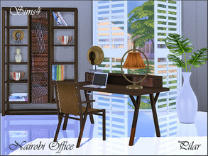 Sims 4 — Nairobi Office by Pilar — Colonial style and exotic woods