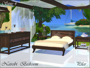Sims 4 — Nairobi Bedroom by Pilar — Colonial style and exotic woods