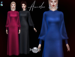 Sims 4 — Amdae dress by jomsims — Amdae dress for her in 10 shades. fluffy long sleeve dress sweet and romantic. Happy