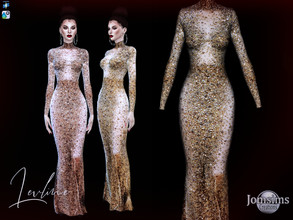 Sims 4 — Levline Long dress by jomsims — Levline Long dress the long version of the Levline dress. soft pinky gold or