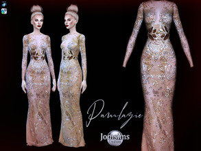 Sims 4 — Pamlazie dress by jomsims — Pamlazie dress Dress Sims 4 for her in 2 shades. soft gold or strong gold. designer