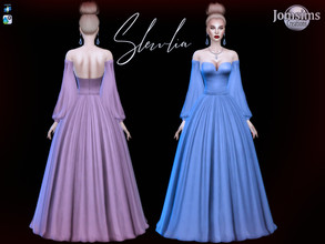 Sims 4 — Slewlia Dress by jomsims — Slewlia Dress for her in 10 shades. backles dress. Strapless. puffed sleeves. sweet