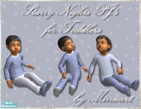 Sims 2 — Starry Nights PJ's for Toddlers by minicart — A set of pastel blue pyjamas for your male toddler, complete with