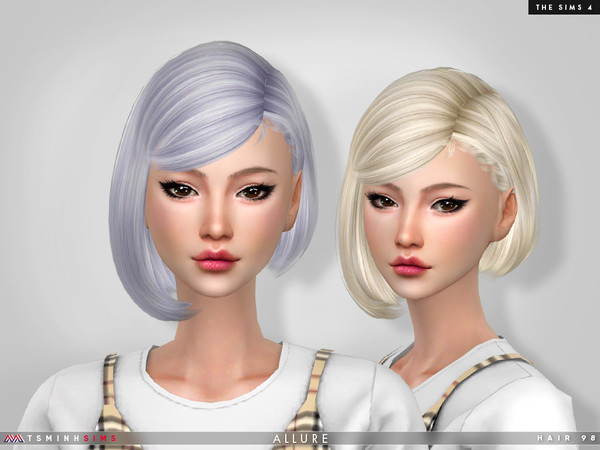Sims 4 — Allure ( Hair 98 ) by TsminhSims — - New meshes - 30 solid colors - HQ texture - Custom shadow map, normal map -