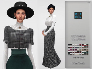 Sims 4 — Edwardian Lady Dress by Elfdor — - 45 swatches - new mesh - everyday, formal, party - teen to elder - base game