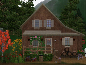 Sims 3 — la maison du bucheron empty no CC by sgK452 — Small house in the woods, home of the woodcutter and his wife. On