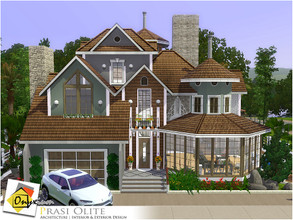 Sims 3 — Prasi Olite by Onyxium — On the first floor: Living Room | Dining Room | Kitchen | Bathroom | Garage On the