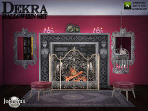 Sims 4 — Dekra Halloween set by jomsims — Dekra Halloween set 10 new halloween themed items. fireplace. 2 mirrors. rugs 4