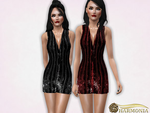 Sims 3 — Striped Pattern Sequinned Dress by Harmonia — 4 variations not-Recolorable