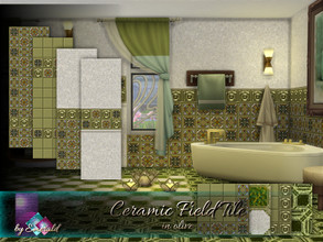 Sims 4 — Ceramic Field Tile in olive by Emerald — Add unique style and color to your bathrooms, kitchens, pools and more