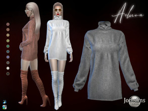 Sims 4 — Acluoa  dress by jomsims — Acluoa dress wool dress, with sleeves and turtleneck happy simming! Thank you Tsr