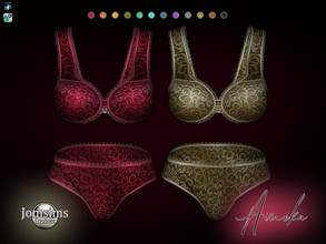 Sims 4 — Aineka lingerie by jomsims — Aineka lingerie matching bra and panties. precious fabrics, fine lace on the edge