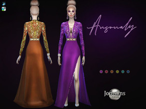 Sims 4 — Ansonaly dress by jomsims — Ansonaly dress split evening dress. bottom of the dress solid color. High