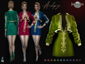 Sims 4 — Aulepy outfit dress by jomsims — Aulepy outfit dress short dress and little bolero. embroidered gold Happy