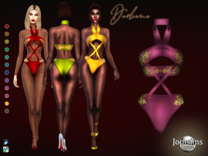 Sims 4 — Dadiane swimsuit by jomsims — Dadiane swimsuit swimsuit bandeau. gold embroidery Happy simming! Thank you Tsr