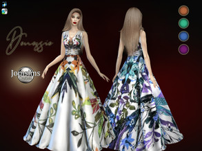 Sims 4 — Denessie dress by jomsims — Denessie dress long dress, haute couture. flowery fabrics Happy simming! Thank you