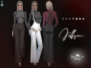 Sims 4 — Jelfsen jumpsuit by jomsims — Jelfsen jumpsuit overalls long pants and, wide down. Little wool sweater close to