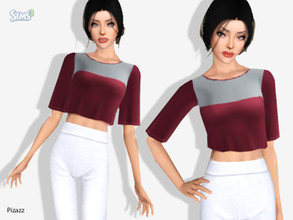 Sims 3 — Crop Top V-107 by pizazz —  Short sleeve custom mesh. 2 color channels. Have some fun making it your own style