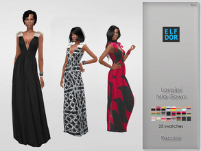 Sims 4 — Laupipi Mia Gown Recolor by Elfdor — Its a standalone recolor of Laupipi dress and you will need the original