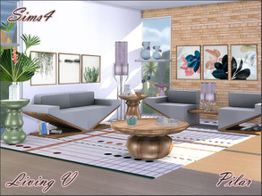 Sims 4 — Living V by Pilar — A nice mix of straight and rounded shapes