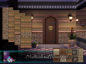 Sims 4 — Multicolored Wood Siding by Emerald — Weathered wood with this mix and match of colors and stones make this