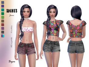 Sims 4 — Shorts Jeans by Suzue — * For Female Sims (Teen to Elder) * 10 Swatches * Base Game Compatible * HQ Compatible