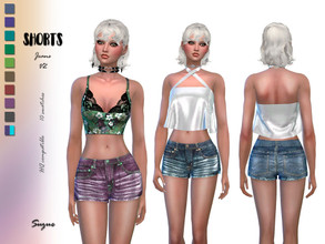 Sims 4 — Shorts Jeans V2 by Suzue — * For Female Sims (Teen to Elder) * 10 Swatches * Base Game Compatible * HQ