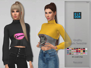 Sims 4 — Grafity Quylu Sweater Recolor by Elfdor — Its a standalone recolor of Grafity top and you will need the original