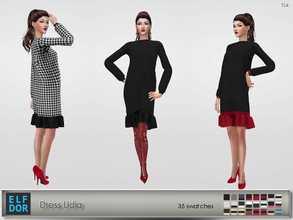 Sims 4 — Dress Lidia by Elfdor — - 35 swatches - new mesh all LODs - smooth weighting - custom shadow map - everyday,