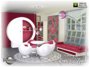 Sims 4 — love apple Dining room by jomsims — love apple Dining room Pretty modern lines and festive colors for this new