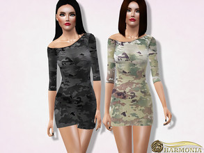 Sims 3 — Asymmetric Neck Camouflage Dress by Harmonia — 3 color. recolorable Please do not use my textures. Please do not