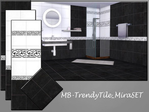 Sims 4 — MB-TrendyTile_MiraSET by matomibotaki — elegant black and wthite wall and floor tile set - 3 matching wall and
