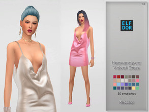 Sims 4 — Heavendy-cc Velvet Dress Recolor by Elfdor — Its a standalone recolor of Heavendy-CC dress and you will need the