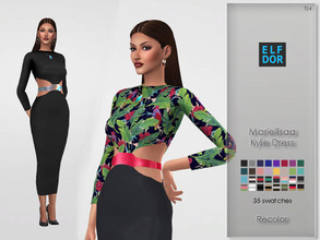 Sims 4 — Mariellisaa Kylie Dress Recolor by Elfdor — Its a standalone recolor of Mariellisaa dress and you will need the