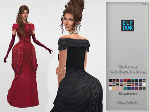 Sims 4 — Victorian Ball Gown Patricia by Elfdor — - 30 swatches - new mesh all LODs - everyday, formal, party - teen to