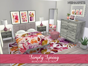 Sims 4 — Simply Spring Bedroom Collection {Mesh Required} by neinahpets — A beautiful spring bedroom recolor - with a