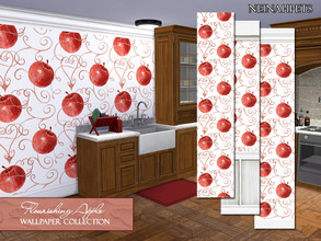 Sims 4 — Flourishing Apple Wallpaper Collection by neinahpets — A flourishing watercolor apple wallpaper collection with