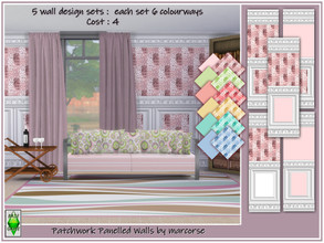 Sims 4 — Patchwork Panelled Walls by marcorse by marcorse — An integrated collection of 5 wall designs, each having 6