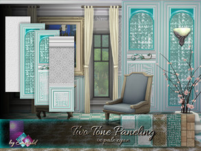Sims 4 — Two Tone Paneling in pale cyan by Emerald — Two tone paneling will transform your interior walls with depth and