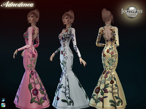 Sims 4 — Adnedenea dess by jomsims — Adnedenea dess for her in 16 shades evening parmaid dress pattern floral chic and