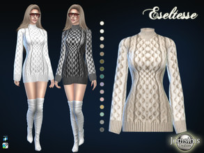 Sims 4 — Eseltesse dress by jomsims — Eseltesse dress for her in 15 shades. heavy wool sweater dress. confortable. Happy